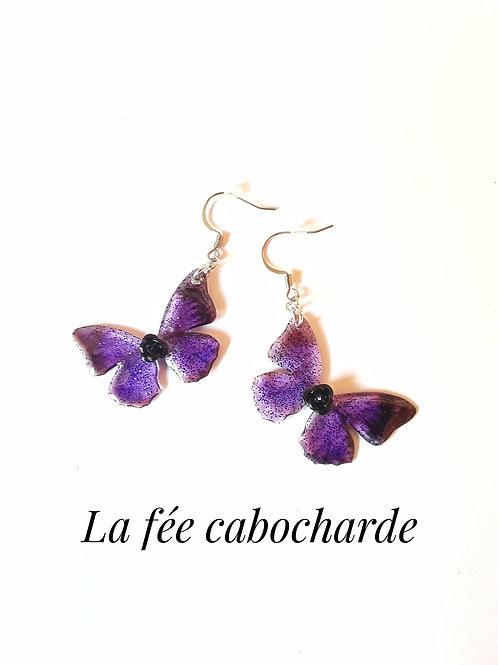 """Boucles """"Papillons cristallisés"""" Cassis"""