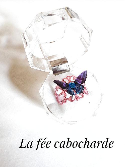 """Bague """"Papillon cristallisé"""" violette et bleue"""