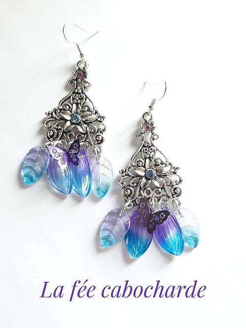 """Boucles """"Flower"""" bleues et violettes"""