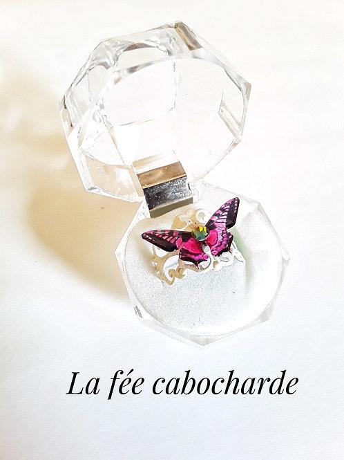 """Bague """"Papillon cristallisé"""" rose"""