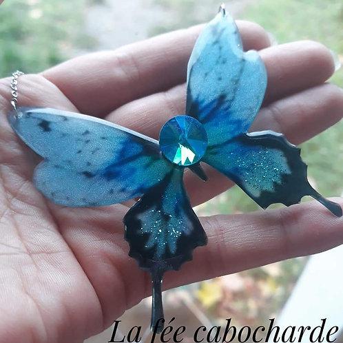 """Collier """"Papillon cristal """" bleu ciel"""