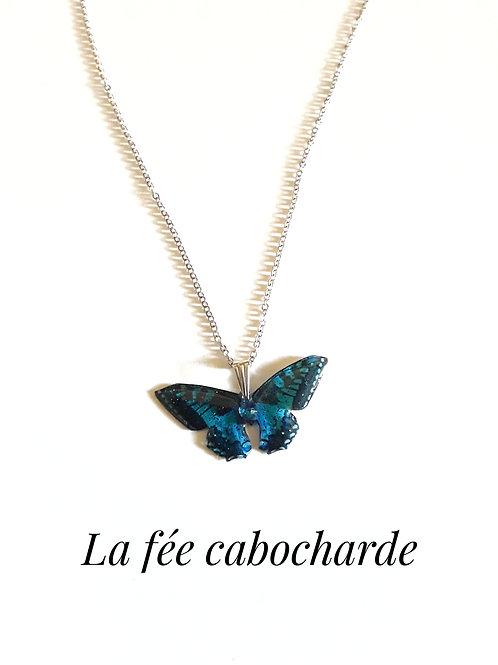 """Pendentif """"Papillon cristallisé"""" turquoise"""