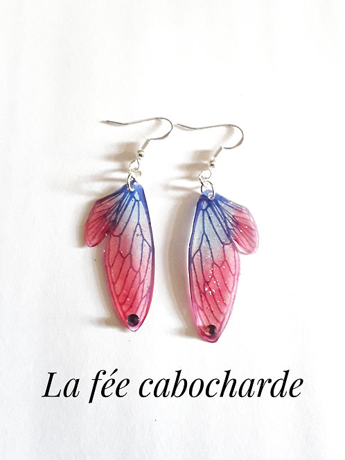 """Boucles """"Petites ailes de fée"""" bleues et rouges"""