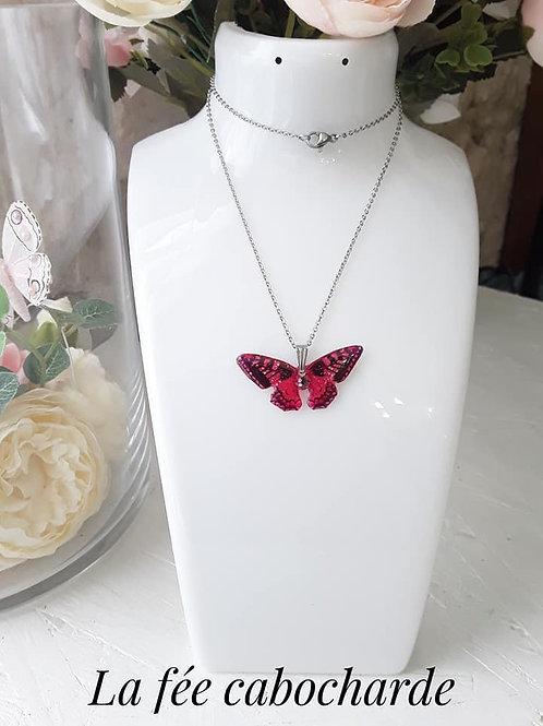 "Pendentif ""Papillon cristallisé"" Rose fluo"
