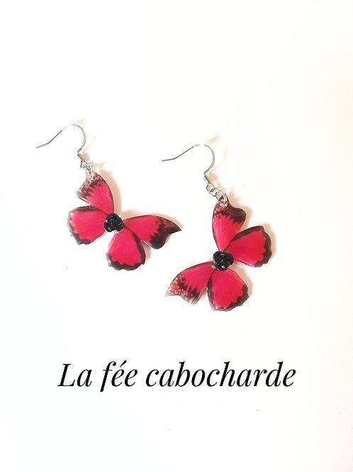 """Boucles """"Papillons cristallisés"""" Framboise"""