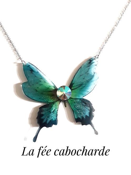 "Collier ""Papillon cristal"" vert"