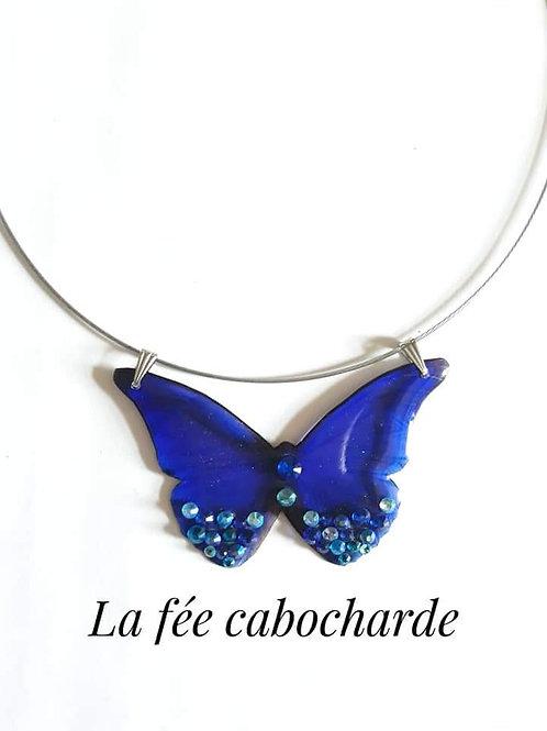 """Collier """"Papillon de nuit"""" câble"""