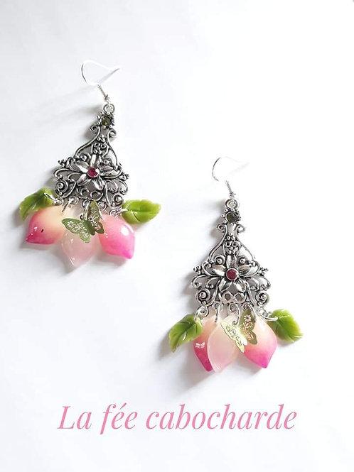 """Boucles """"Flower"""" roses et vertes"""