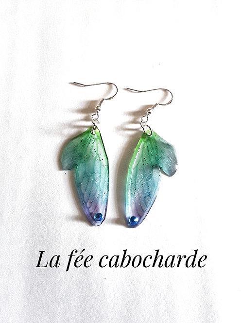 """Boucles """"Petites ailes de fée"""" vertes et bleues"""