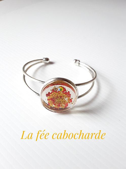 """Bracelet manchette """"Fleurs jaunes et oranges"""""""