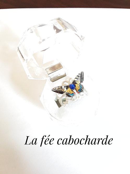 """Bague """"Papillon cristallisé"""" jaune et bleu"""