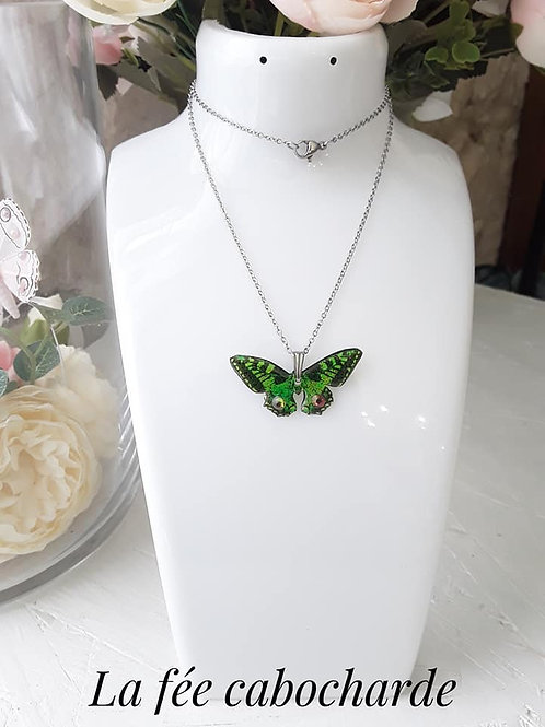 "Pendentif ""Papillon cristallisé"" Vert"