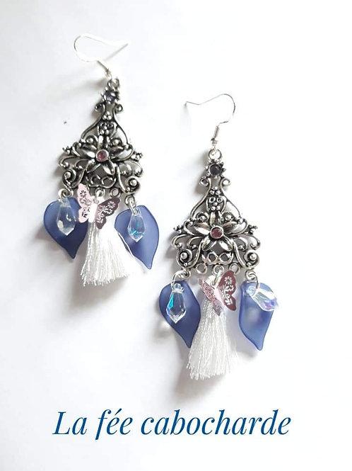 """Boucles """"Arum"""" bleues"""