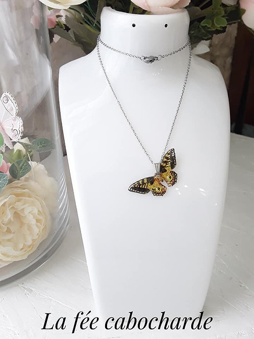 """Pendentif """"Papillon cristallisé"""" Jaune"""