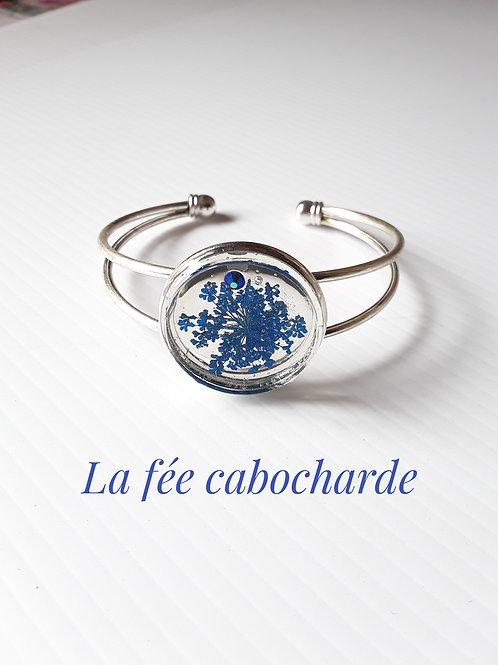 """Bracelet manchette """" Fleurs bleues"""""""