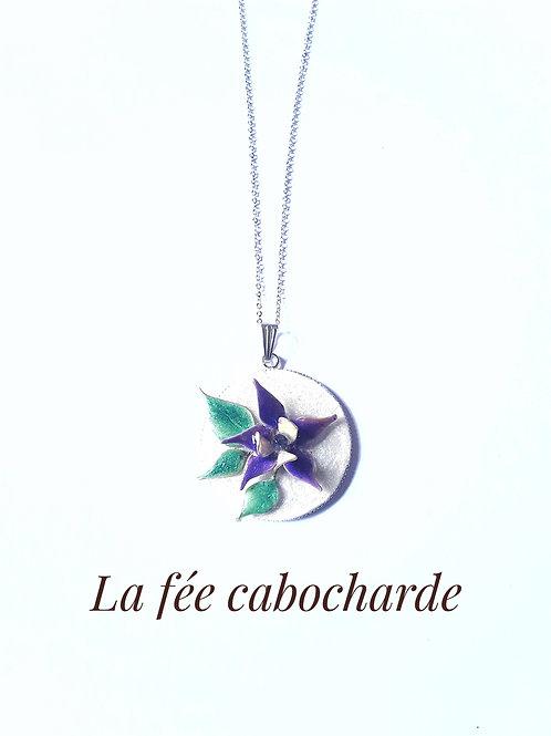 """Médaillon """"Fleur violette"""" acier"""