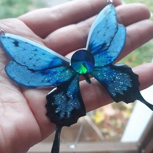 """Collier """"Papillon cristal """" bleu"""