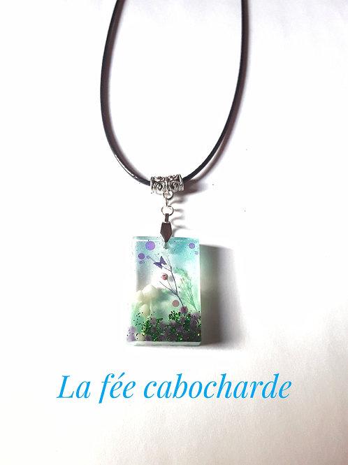"""Collier """"Fairy garden"""" rectangle champignons"""