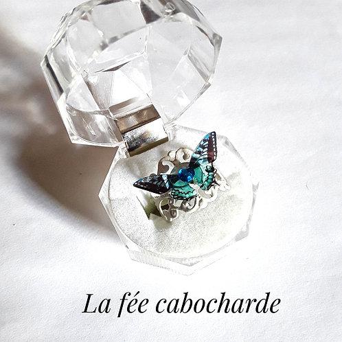 """Bague """"Papillon cristallisé"""" turquoise"""