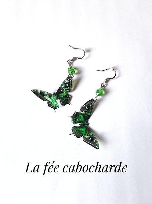 """Boucles """"Papillons cristallisés """" couleur émeraude"""