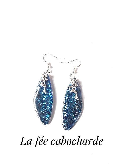 """Boucles Ailes de fée """"Petites fées bleues"""""""