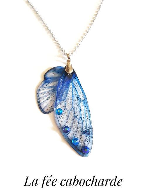 """Collier Ailes de fées """"Lapis Lazuli"""" acier"""