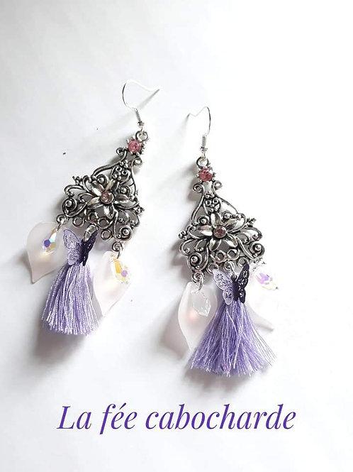 """Boucles """"Arum"""" violettes"""