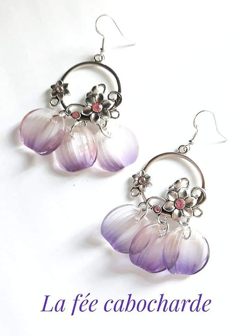 """Boucles """"Pétales """" violettes"""
