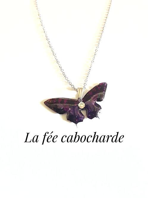 """Pendentif """"Papillon cristallisé"""" violet"""