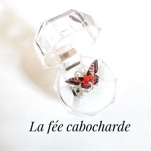 """Bague """"Papillon cristallisé """" orange"""