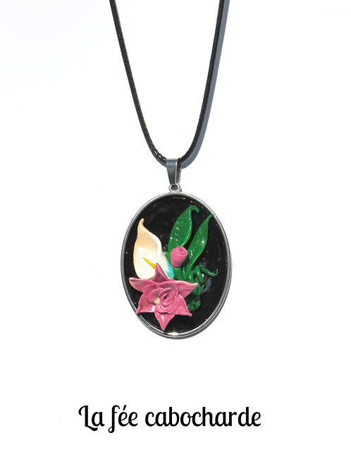 "Collier "" Petit bouquet Rose"""