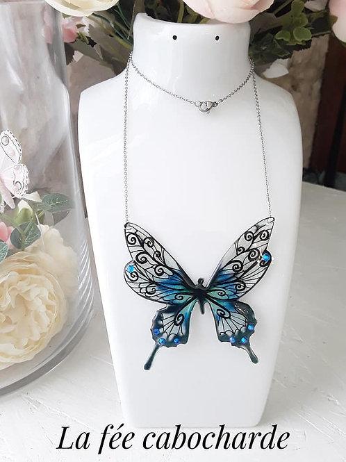 """Collier """"Papillon arabesque"""" bleu"""