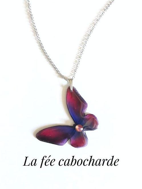 """Pendentif """"Papillon cristallisé """" printemps"""