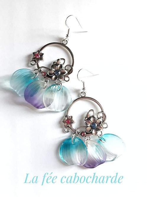 """Boucles """"Pétales """" bleues et violettes"""