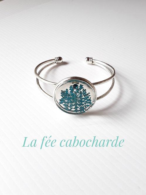 "Bracelet manchette ""Fleurs turquoises"""
