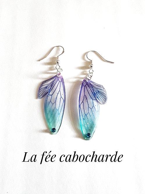 """Boucles """" Petites ailes de fée"""" mauves et turquoises"""