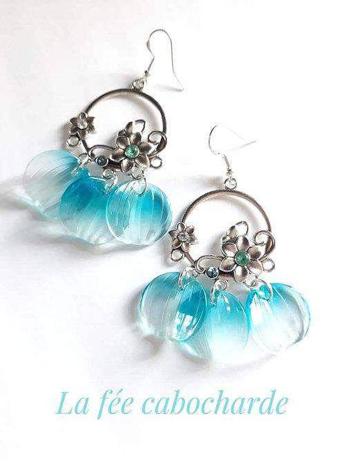 """Boucles """"Pétales """" bleues"""
