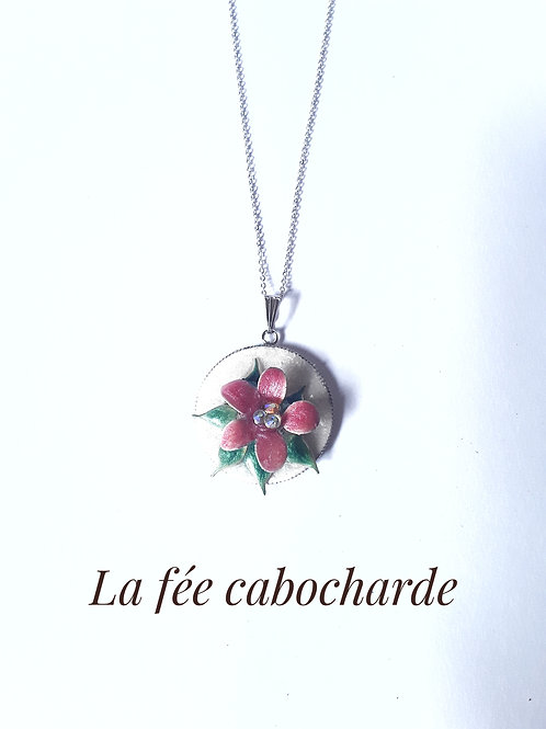 """Médaillon """"Fleur rose"""" acier"""