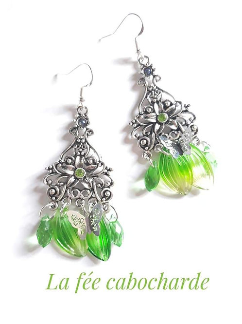 "Boucles ""Flower"" vertes"