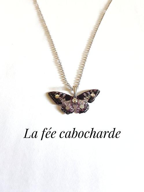 """Pendentif """"Papillon cristallisé"""" gris"""