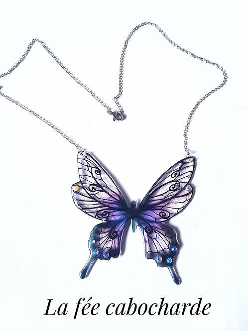 """Collier """"Papillon arabesque"""" violet"""