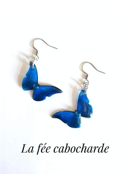 """Boucles """"Papillon cristallisé """" bleu Azur"""