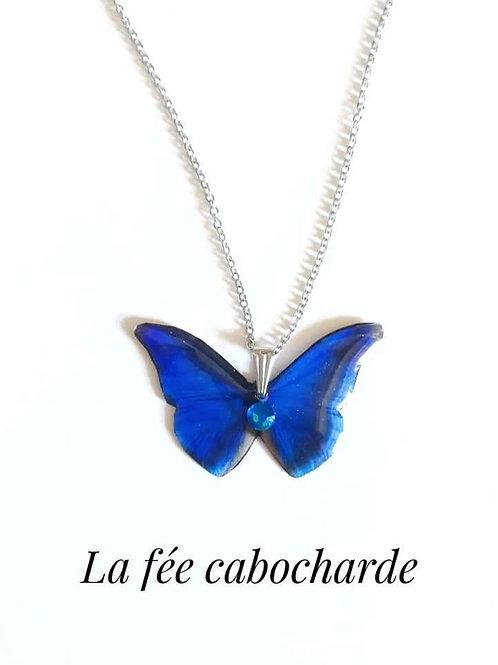"Pendentif ""Papillon cristallisé "" bleu marine"