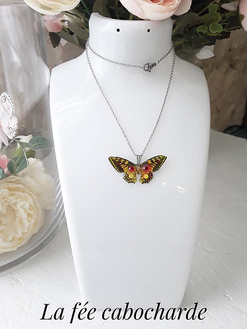 "Pendentif ""Papillon cristallisé"" Orangé"