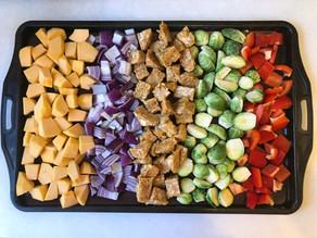 Plaque de légumes d'automne au tempeh