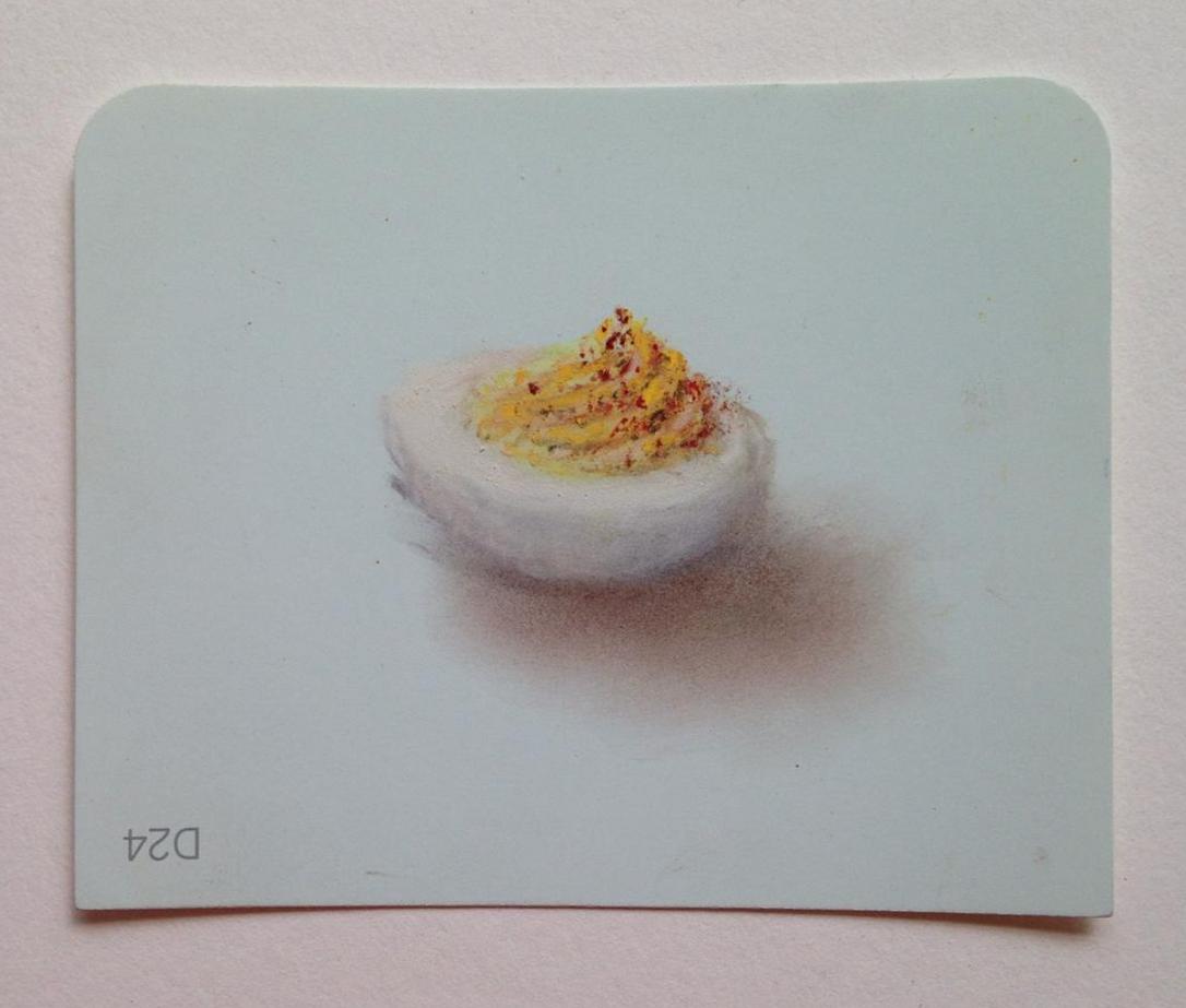 Deviled Egg Pastel on Martha Stewart Paint chips Framed