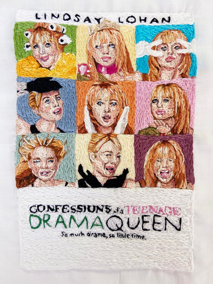 Confessions of a Teenage Drama Queen, 2019 Cotton embroidery floss on found fabric
