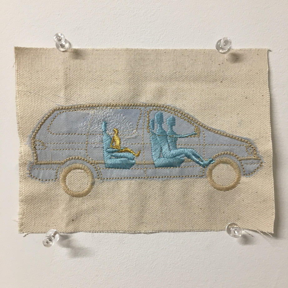 Super Mini Van, 2001 Machine embroidery 5 x 7 in. Edition of 3
