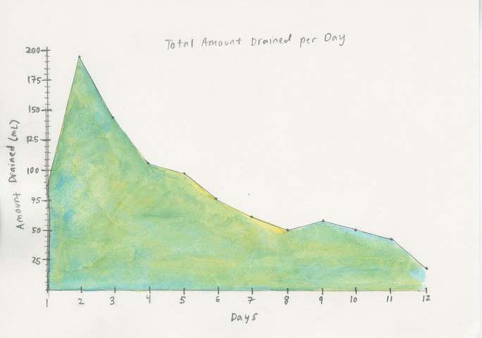 Figure A: Total Amount Drained per Day, 12/6/2019 Watercolor and graphite on paper 5 x 7 in.