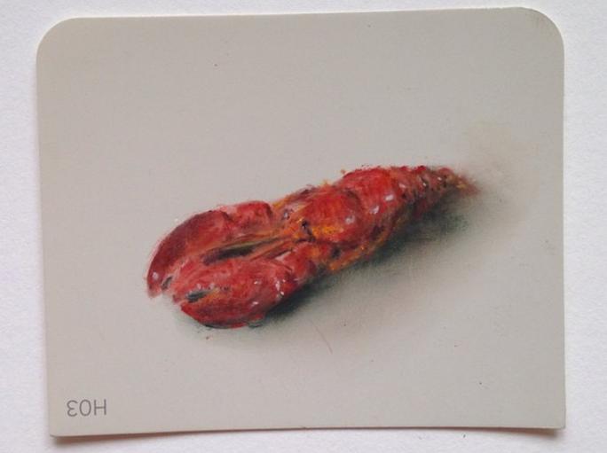 Lobster Pastel on Martha Stewart Paint chips Framed